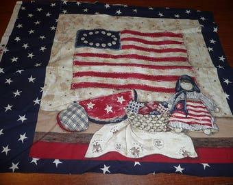 Red, White & Blue Americana Cotton Print Fabric Squares