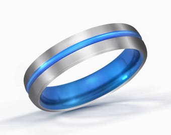 Blue Line Titanium Ring, Wedding Band