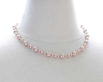 Rose Gold Swarovski Pearl Necklace -Bridal Jewelry, Wedding Jewelry Gift, Bride, Bridal Party Gift Set, Bridesmaids Rose Gold, Bride's Gift