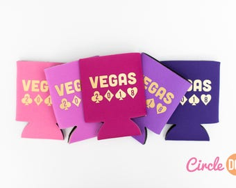 Vegas 2018 Beer Can KOOZIE® - Personalized Soda Can Hugger for bachelor/bachelorette party, girls trip, las vegas vacation, casino night