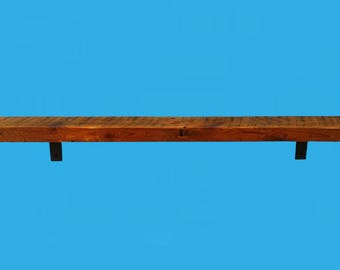 "barn beam shelf with steel L shaped brackets -50"" x 5-3/4"" x 1-7/8""-689"