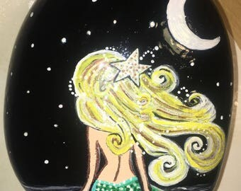 Siren under the moonlight longing for her long lost love Acrylic Painted Stone