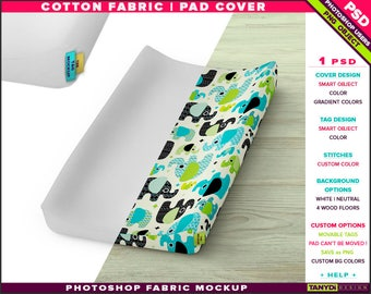 Pad Cover Cotton Fabric| Photoshop Fabric Mockup PC-M1 | Tag options | Pad on wood floor | Smart Object Custom colors