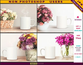 11oz White Coffee Mug | Styled JPG Scenes 11-C1 | Mug on Wood Table with Flowers | Living room interior | Non-Photoshop