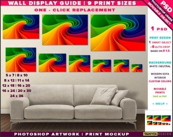 Wall Display Guide | 9 Print Sizes Photoshop Mockup | 24x36 20x30 16x24 16x20 12x18 11x14 8x12 8x10 5x7 | Landscape Print | Sofa interior