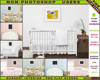 Nursery Interior Styled PNG Scenes | Non-Photoshop | 11x14 Wooden Frame on Nursery Wall | White Wood Crib | Portrait Landscape frame