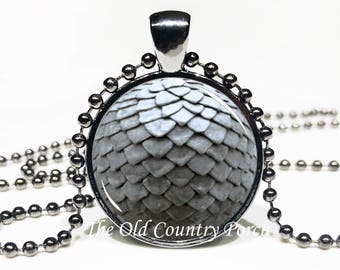 Dragon egg pendant Grey Glass Pendant Necklace with Chain