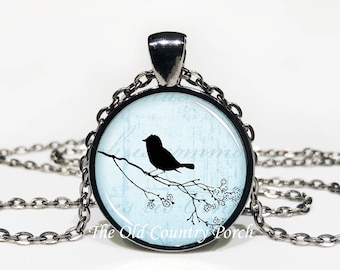 Bird on a Branch-Glass Pendant Necklace/Graduation gift/mothers day/bridal gift/Easter gift/Gift for her/girlfriend gift/friend gift