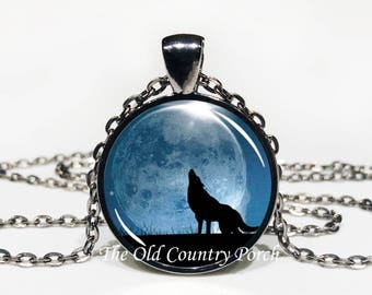 Blue Moon Wild Wolf- Glass Pendant Necklace/Mother's day/Moon Necklace/gift for her/girlfriend gift/wolf gift/wolf necklace/birthday gift