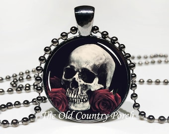 Skull with Roses -Glass Pendant Necklace/Halloween Necklace