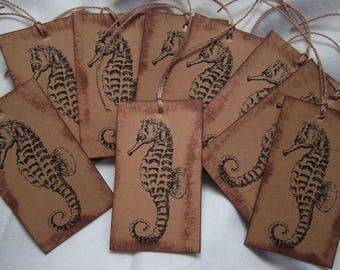 Vintage Sea Horse Hang Tags Set of 9