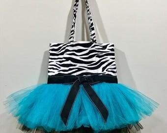 Zebra print girls tot bag