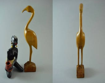 Vintage wooden bird sculptur figurine, Mid Century Design, popular design object of the 60s