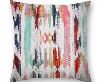 Kilim pillow cover in pink, turquoise, navy blue, grass green, yellow and orange-red and cream.  Bohemian look Pillow Cover.