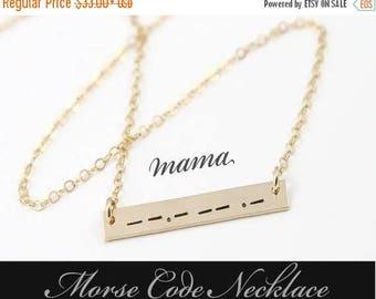 ON SALE Morse Code Necklace / Morse Code Bar Necklace / Secret Mesage Necklace / Morse Code Jewelry / Gold Filled , Sterling Silver, Rose Go