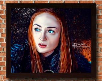 Sansa Stark Splatter Portrait Digital Painting Print, Game of Thrones