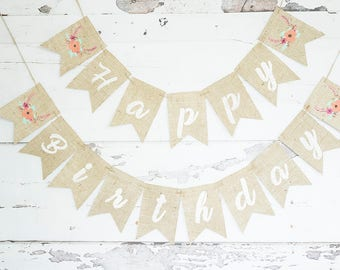 Floral Birthday Party Decor, Floral Happy Birthday Banner Floral Party Decorations, Flowers Party Banner,  Girl Floral Birthday Sign, B763