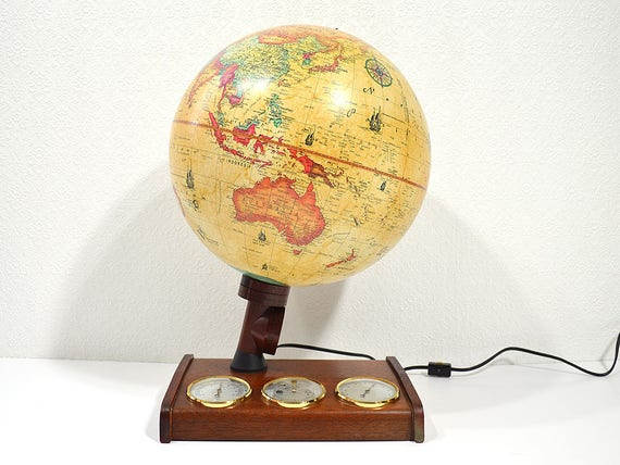 Vintage Globe Lamp- World Discoverer Light Up Globe with Weather Gauges and Wooden Base, Mid Century Office Decor, Educational Toys