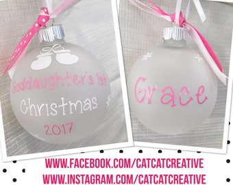 Personalized Goddaughter's 1st Christmas ornament | Goddaughter Gift | Goddaughter keepsake | Goddaughter's First Christmas | Godchild Gift