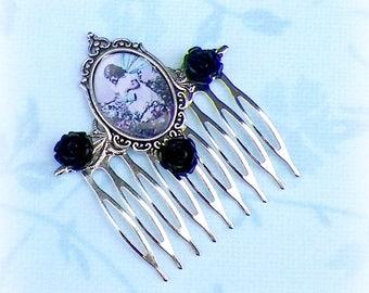 Fairy Hair Comb Black Vintage Style Bridal Silver Victorian Rose Gyspy Boho  Steampunk Wedding Gothic Bohemian