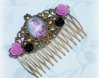 Victorian Purple Hair Comb Vintage Style Gothic Bridal Black Rose Cameo Gyspy Boho  Steampunk Wedding Gothic Bohemian