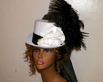 Top Hat White Steampunk Victorian Black  Gothic Cosplay Womans Costume  Tea Party Kentucky Derby