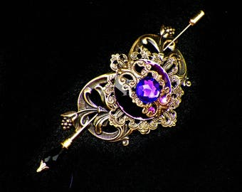 Victorian Shawl Pin Purple Brooch Gold Steampunk Vintage Style Scarf Pin Hair Slide Edwardian Filigree  Antique Inspired Stick