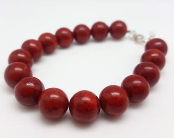 Coral beads and Silver 925 bracelet