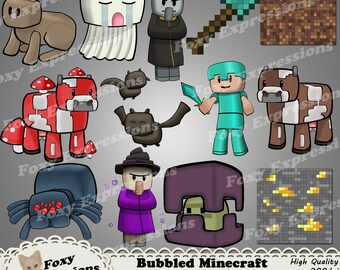 Bubbled Minecraft Characters pack 3 of 4 includes Rabbit, Spider, Witch, Steve, Bats, Cow, Shovel, Evoker, Ghast,Mushroom Cow,Shulker & more