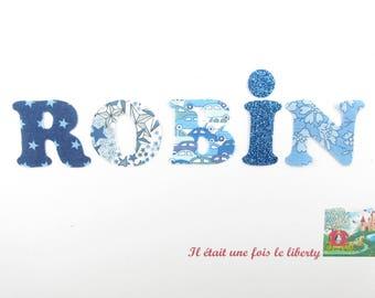 Appliqués thermocollants Prénom personnalisable (ROBIN, exemple proposé) de 5 lettres en liberty