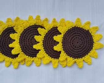 cotton sunflower coasters,crochet sunflower coaster set,4 piece coaster set,crochet dining coasters,sunflower trivet,cotton drinkware,trivet