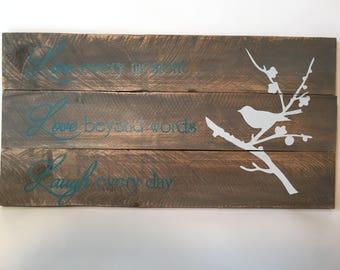 Live Love Laugh Pallet Wood Rustic Sign