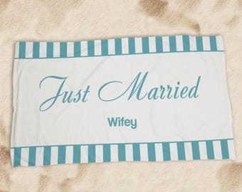 Personalized Wedding Get Away Beach Towel, Wifey Beach Towel, Honeymoon Beach Towel, Wedding Shower Gift