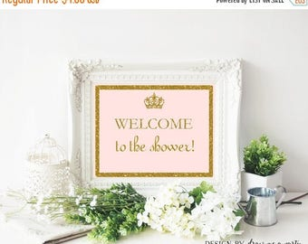20% OFF Princess Welcome Baby Shower Sign , Pink And Gold Sign , Printable , Instant Download