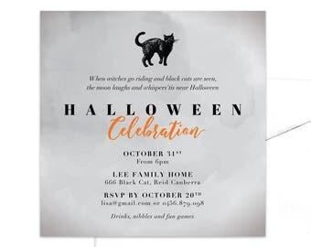 Black Cat Halloween Party Invitation / Printable Halloween Invitation / Children's Halloween Invitation / Kid's Halloween Invitation
