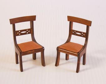 Vintage Dollhouse miniature chairs with upholstered seats