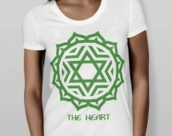 Heart Chakra Trendy Fitted Green Shirt, Short Sleeve Fitted Tee, Cute Graphic Tee, Metaphysical Shirt, Ladies Cute T-Shirt, Screen Printed
