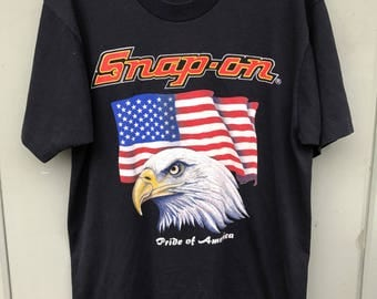 Vintage 80's Black Snap On Tools Pride of America Eagle Graphic T Shirt sz L