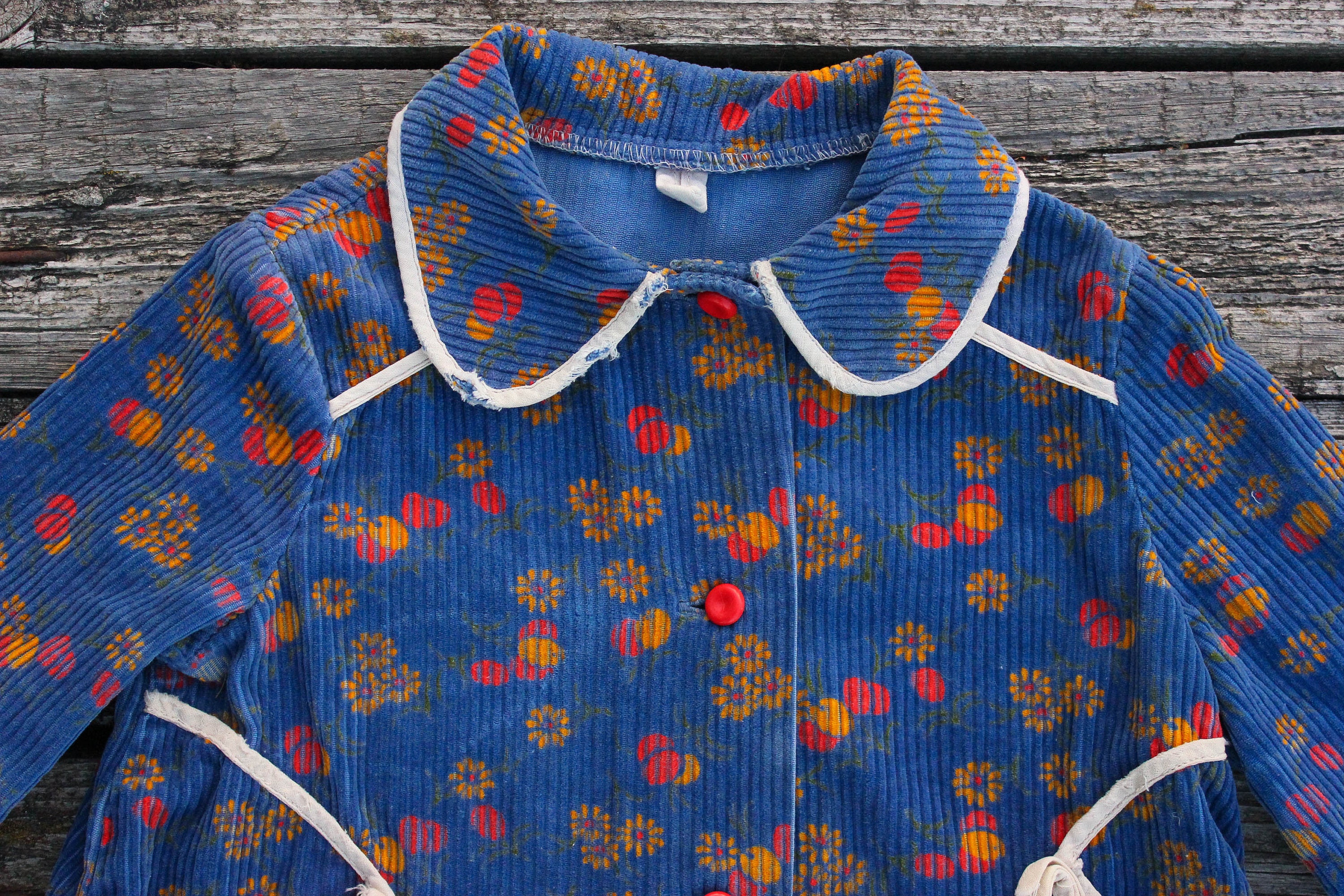 1950 s Soviet Baby Dress Aged Blue Floral Peter Pan Collar