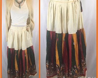 Gypsy HIPPIE ETHNIC Traditional Camal Cotton Gypsy Print Boho Long Skirt