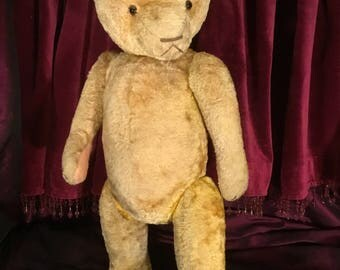 "Large 20"" Antique Vintage 1940s/50s Hungarian Silk Plush Teddy Bear"