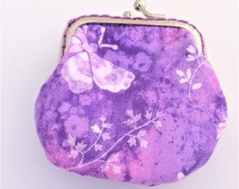 Coin Purse Purple Flower Butterfly Coin Purse Gift for Girls Christmas Easter Birthday Women