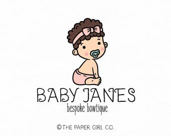 baby logo design bow shop logo newborn logo design doula logo boutique baby headband shop logo bespoke logo design photography prop logo