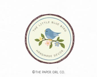 photography logo bird logo home decor logo premade logo blue bird logo event planner logo gift shop logo sewing shop logo etsy shop logo