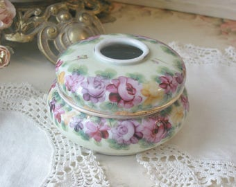 Vintage Japanese Porcelain Hair Receiver, Hand Painted Roses