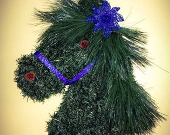 Horse Head Wreath/Horse Decor/Equestrian Wreath/Christmas Decor/Outside Decor/Bright Colors/Great Gifts/Blue