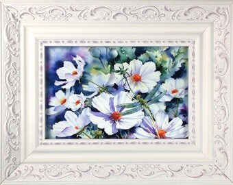Framed Print - White Flowers With Dragonfly