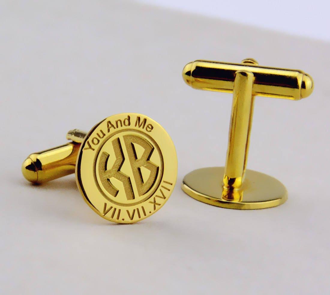 Custom Groom Wedding Cufflinks,Gold Personalized Monogram Cufflinks ...