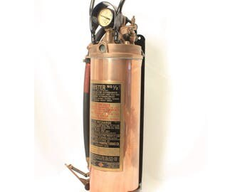 Phister Fire Extinguisher, Copper and Brass, Mid Century Decor, No 1/2 Gal