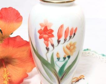 Japanese Bone China Hand Painted Orange and Yellow Flower Vase, Asian Home Decor
